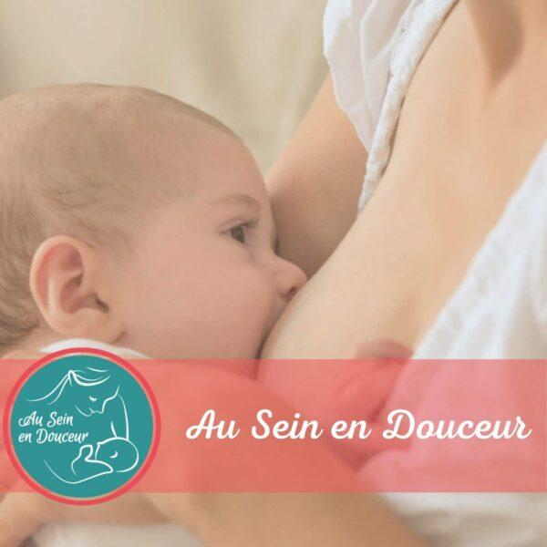 Image de couverture du podcast sur l'allaitement avec Caroline de Ville qui allaite sa plus jeune fille.